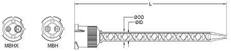 MBH twist lock style mengbuis, mengbuizen, static mixer of lijmnozzle