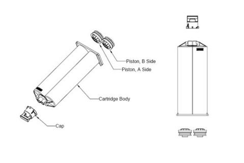 Lijm cartridge, adhesives cartridges, lege lijm koker voor 1 component of 2 componenten producten